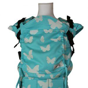 Ergonomický nosič na nosenie detí Lenka rastúca azurová s motýľmi